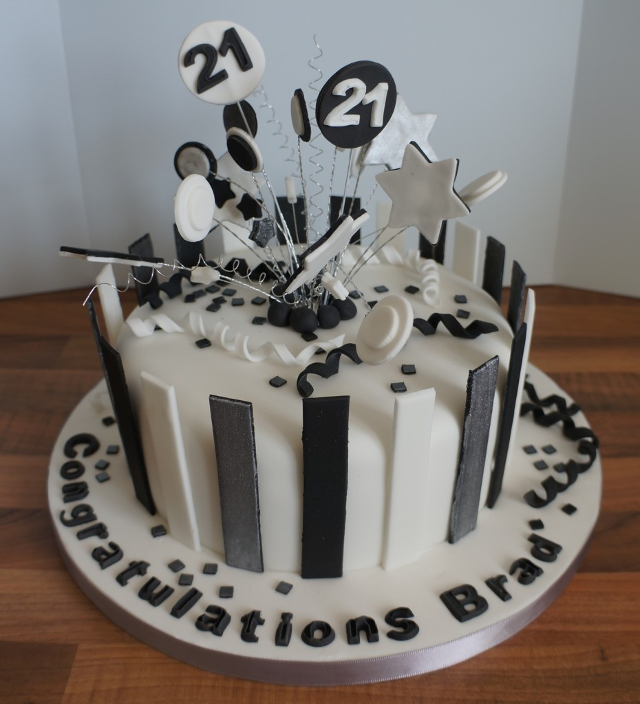 Black White Amp Silver Stripe 21st Birthday Cake Coppice