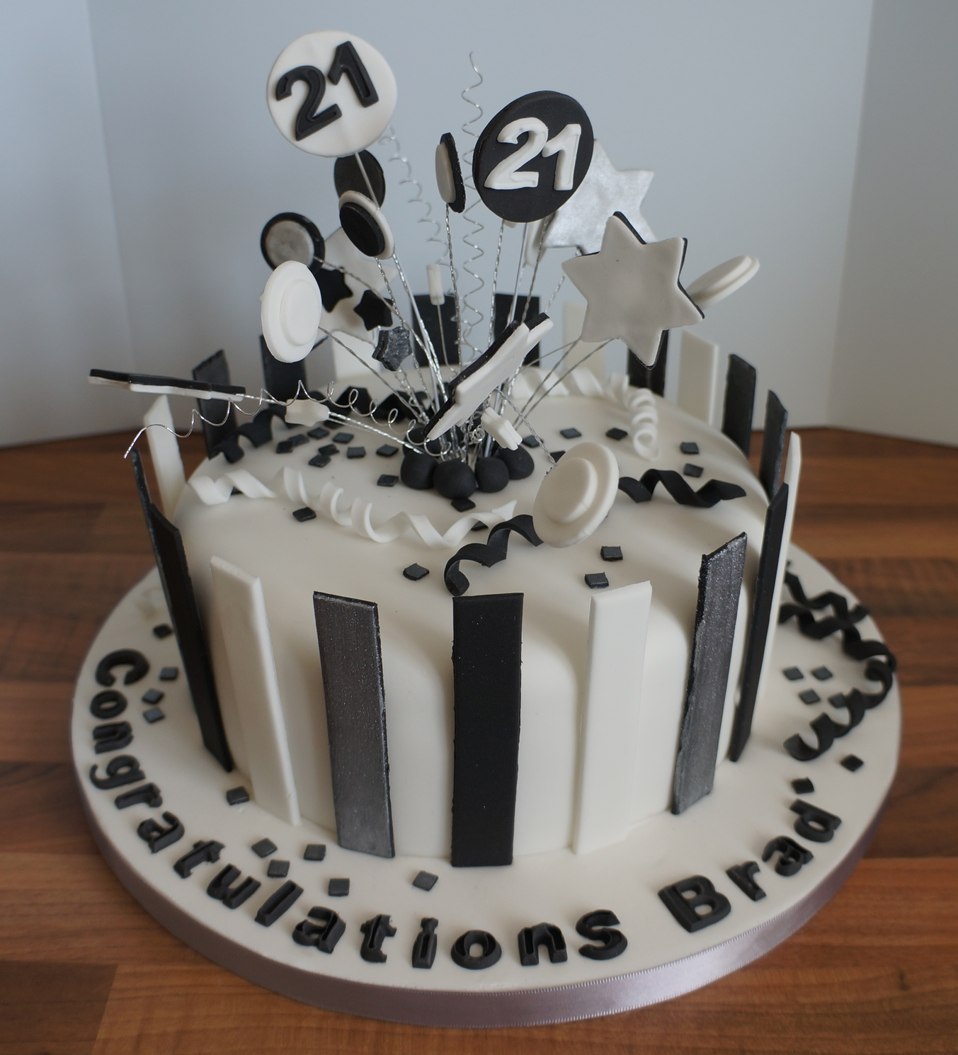 Black White Silver Stripe 21st Birthday Cake Coppice Cakes