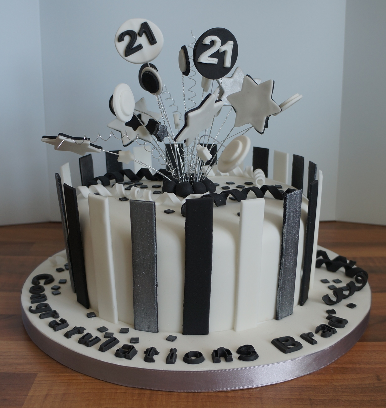 Black white silver stripe 21st birthday cake coppice for 21st cake decoration ideas